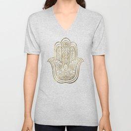 Lotus Gold Hamsa Hand Unisex V-Neck
