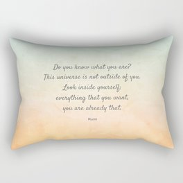 'Do You Know What You Are?' Inspiring Quote by Rumi Rectangular Pillow