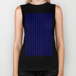 Navy Blue and Black Vertical Stripes Biker Tank