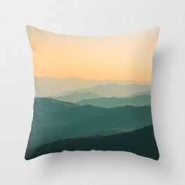 Landscape Photography Teal Turquoise Green Parallax Mountains Hills Orange Sunset Sky Minimalist Pho Throw Pillow
