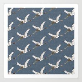 Spring Blue Flying Cranes Art Print