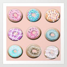 Donuts, pink Art Print