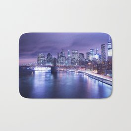 New York City Night Lights : Periwinkle Blue Bath Mat