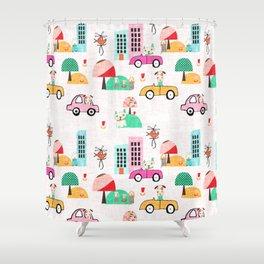 Dog Days Pink #nursery Shower Curtain