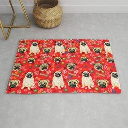 Red Pug Print Rug