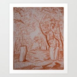 Landscape drawing Art Print