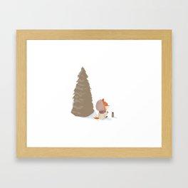 Winter Fox Tree Framed Art Print