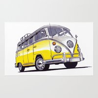 volkswagen Area & Throw Rugs featuring Volkswagen T1  by BSJC Automotive Art