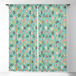 Floral Easter Eggs - Aqua Blackout Curtain