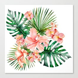 Tropical Jungle Hibiscus Flowers - Floral Canvas Print