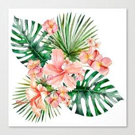 Tropical Jungle Hibiscus Flowers - Floral Canvas Print