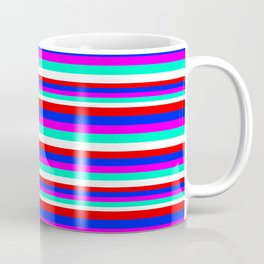 Colored Stripes - Fire Red Royal Blue Pink Mint White Coffee Mug