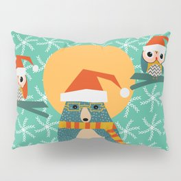 Christmas bear and two little owls Pillow Sham