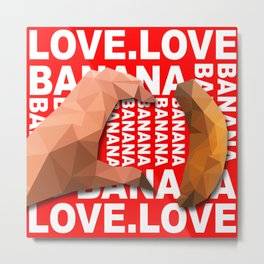 Love Heart One Hand with Banana Food Fruit Red Background Design Illustration Metal Print