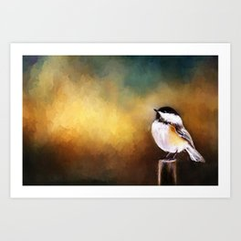 Chickadee in Morning Prayer Art Print