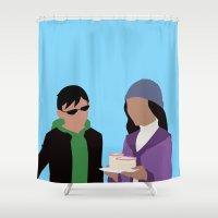minimalism Shower Curtains featuring Chalant Minimalism by IsabellaRose