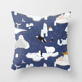 Arctic animals floating on icebergs Throw Pillow
