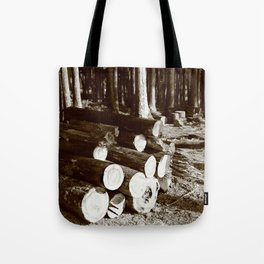 Stacked logs Tote Bag