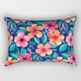 Colorful Watercolor Hibiscus on Indigo Blue Rectangular Pillow