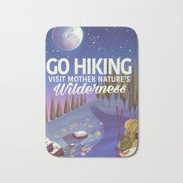 Go Hiking night travel poster Bath Mat