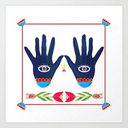 Folk eye, palm-shaped amulet Art Print