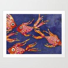 Goldfish batik Art Print