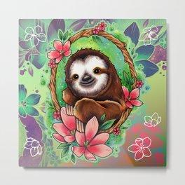 Neo Traditional Sloth Metal Print