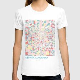 Denver Colorado Colorful Mosaic Map T-shirt