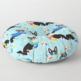 Tri Corgi Pool Party Dog Print beach ball summer pool Floor Pillow