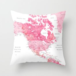 Pink detailed watercolor world map with cities Azalea Throw Pillow