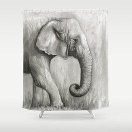 Elephant Black and White Watercolor Shower Curtain