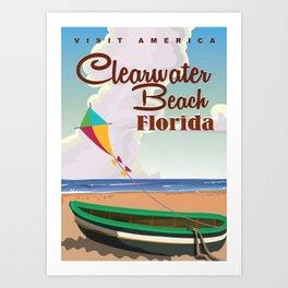 Clearwater Beach Florida vintage travel poster print Art Print
