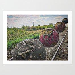 planets doing train things Art Print