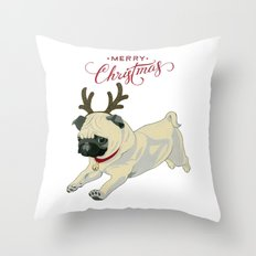 Deer Pug Throw Pillow