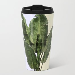 Banana Plant on Yellow and Blue Wall Travel Mug