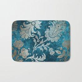 Aqua Teal Vintage Floral Damask Pattern Bath Mat