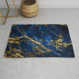 Exquisite Blue Marble With Luxury Gold Veins Rug