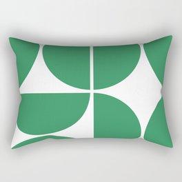 Mid Century Modern Green Square Rectangular Pillow