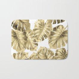 Gold Monstera Leaves on White 2 Bath Mat