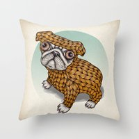 puppy Throw Pillows featuring PUPPY by evafialka