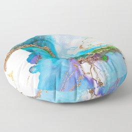 Abstract Marble Mermaid Gemstone With Gold Glitter Floor Pillow