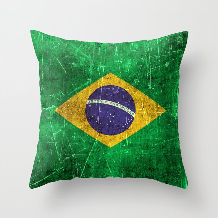 Vintage Aged and Scratched Brazilian Flag Throw Pillow