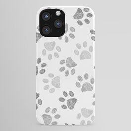 Black and grey paw print pattern iPhone Case