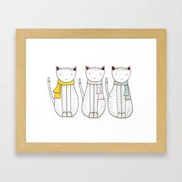 3 Cats in Scarves Framed Art Print