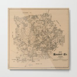 Map of Kendall County, Texas (1879) Metal Print