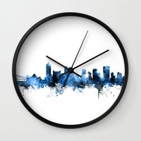 tennessee Wall Clocks featuring Memphis Tennessee Skyline by artPause