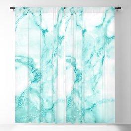 Teal Mermaid Glitter Marble Blackout Curtain
