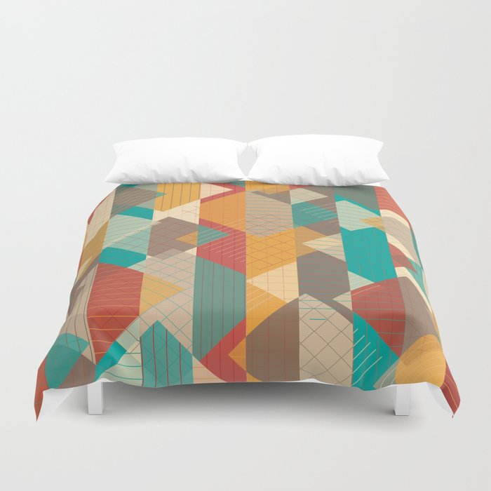 Geometric Geek Pattern - Squares, Stripes, Grids Duvet Cover