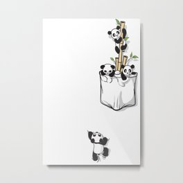 Cute Pocket Pandas Metal Print