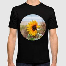 Sunflower near ocean T-shirt